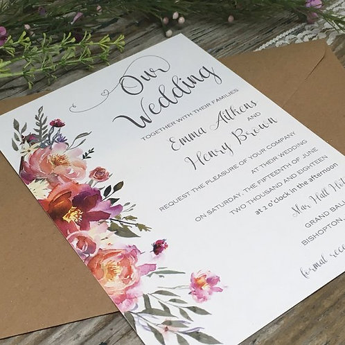 Coral Pink Wedding Invitations