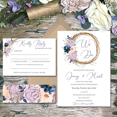 Rustic Circle Wedding Invitation in Dusty Pink and Navy