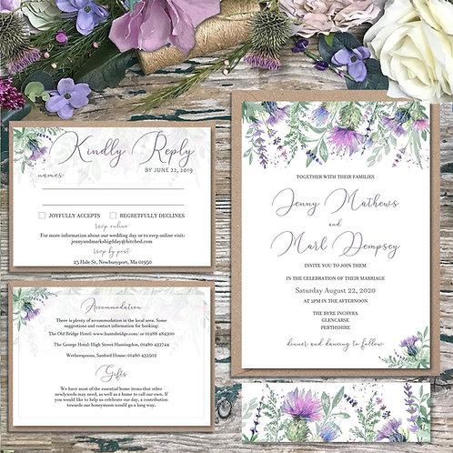 Scottish Thistle and Purple Heather Wedding Invitations