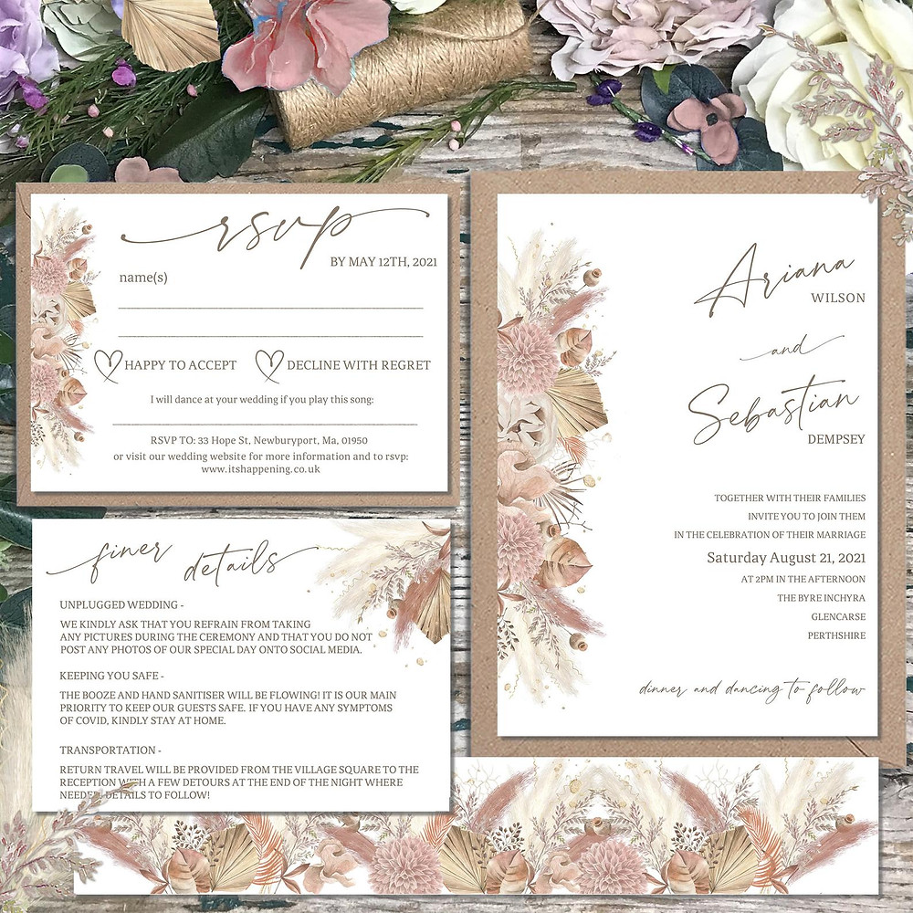 Boho, pampas grass wedding invitation