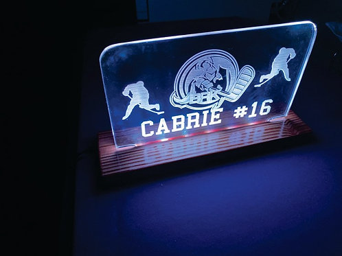 Custom light with your child's hockey team, name & number