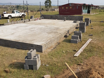 Foundations Laid for New Creche (Old Creche Visible in the Rear)