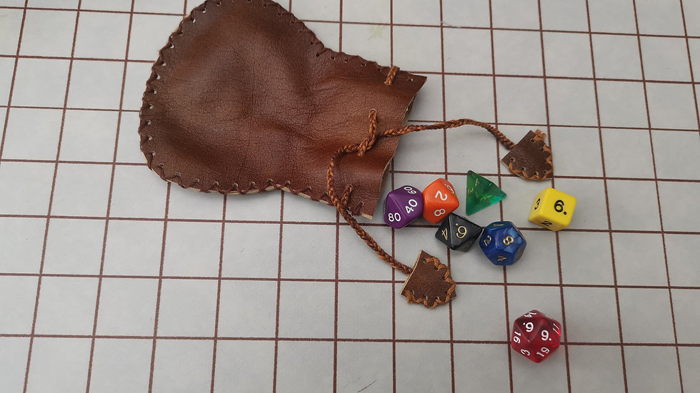 Clearance small leather dice pouch with a mixed set of 7 Poly Dice