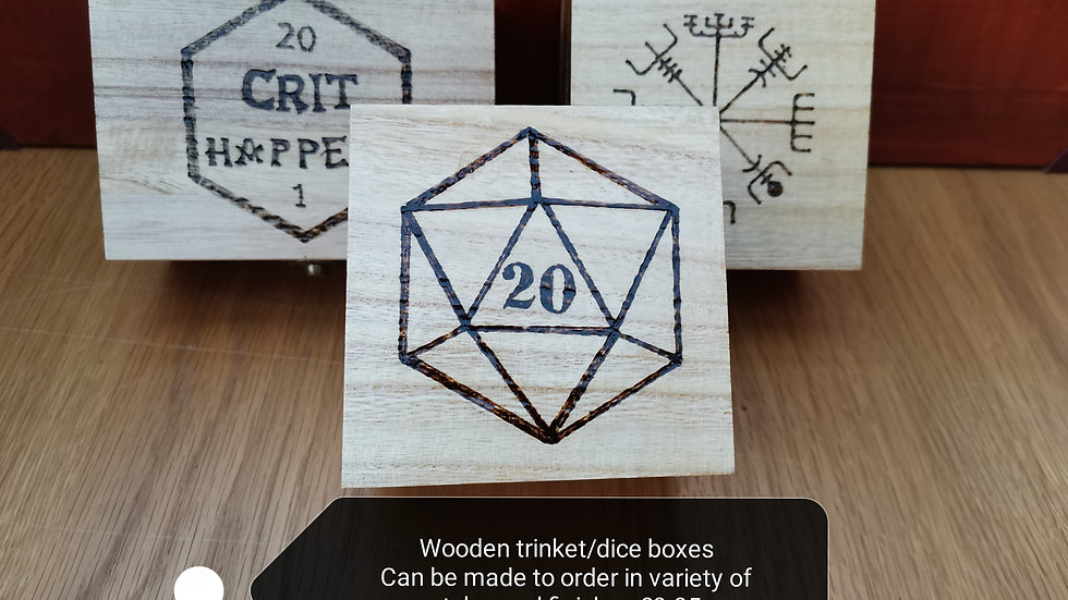 Wooden dice rolling boxes / trinket boxes