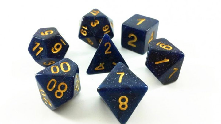 Set of 6 Mini poly Dice Midnight galaxy
