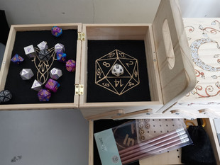 My personal D&D storage box with built in dice tray, mini storage etc