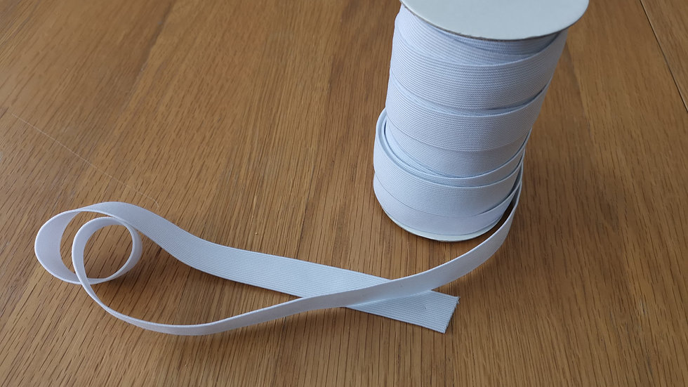 White 25mm elastic by the metre