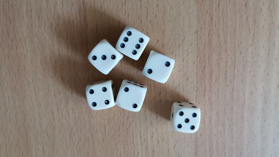 D6 Pip dice - 14mm - set of 6