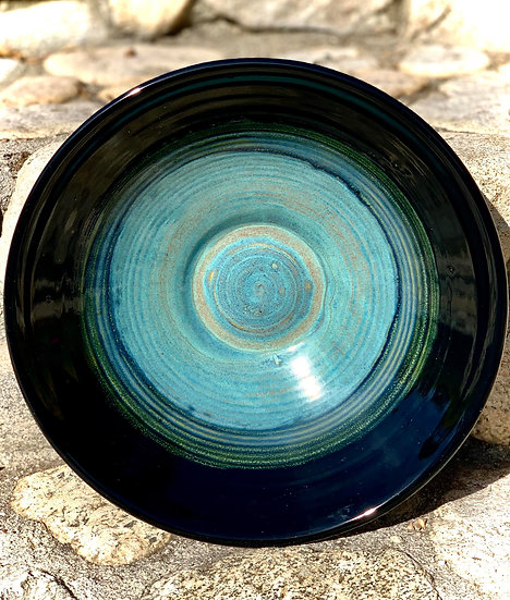 Obsidian & Textured Turquoise Bowl