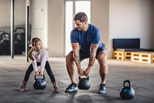 dad with dadbod working out with daughter
