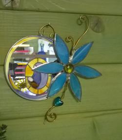 Petit miroir fleur bleue