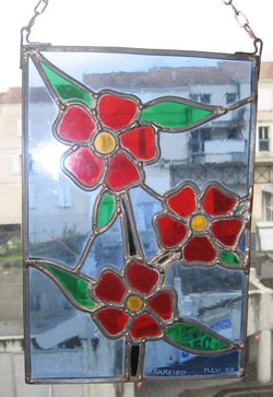 fleurs, vitrail d'exposition