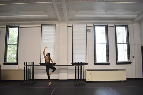 Caldwell practices in the dance studio. Although WKU doesn't require people to wear masks during exercise, the Dance Department does. Caldwell says this is one of most challenging COVID-19 changes to her dance classes.