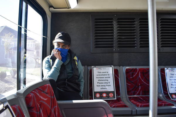 """WKU sophomore Afomia Gelan rides the bus to get from her dorm in Meredith to the other side of campus on Nov. 18, 2020. Gelan said that once, """"Me and my roommate, we just sat on the bus, and for the whole ride, to see where all the bus stops is."""""""