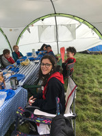 Scouts eating breakfast at camp 2019