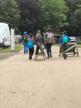 Scouts go on a hike at camp 2019