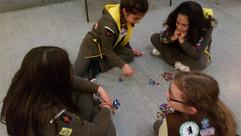 Brownies playing the dreidel