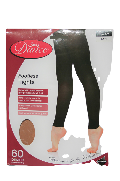 Silky Footless dance tights in black or tan