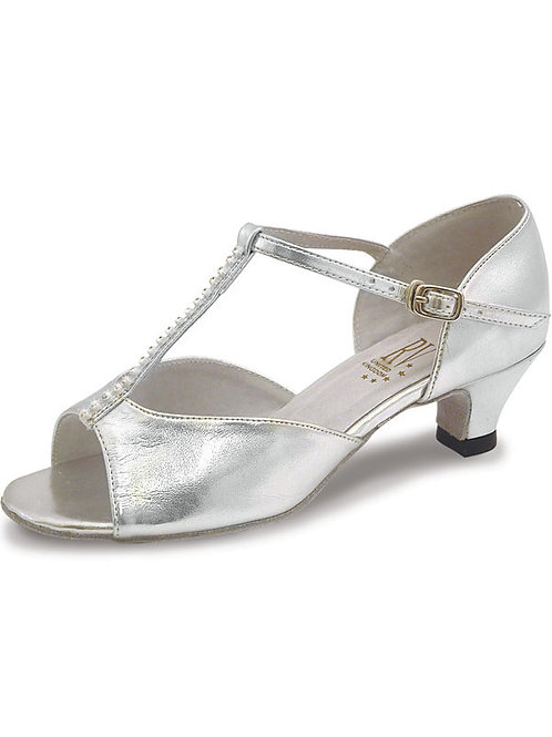 "RV Lara junior ballroom shoe 1.2"" spanish heel silver."