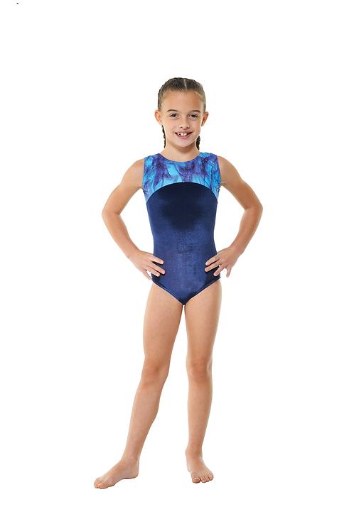 T & P gym 22 gymnastic smooth sleeveless velvet leotard
