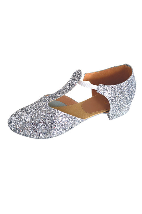 RV greek sandals, silver glitter & black hologram