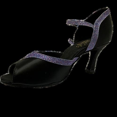 """RV 807 ladies black/purple glitter peep toe dance shoe 2.5"""" heel"""