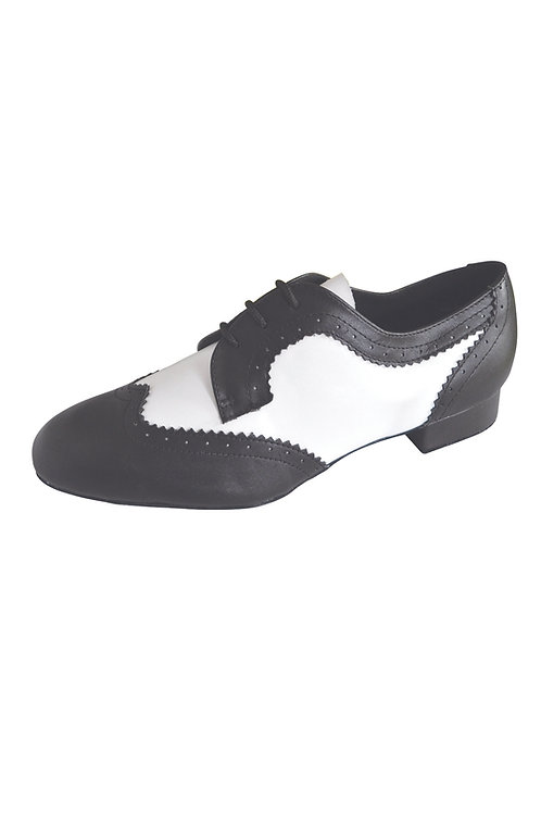 RV mens black/white leather dance shoe