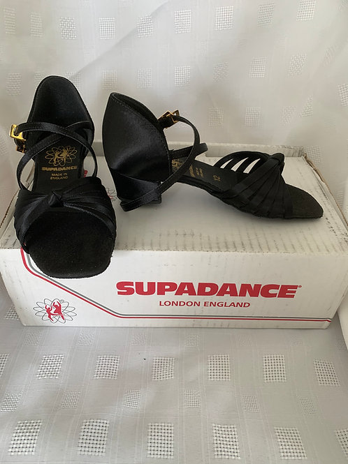 Supadance black satin 1666 girls dance shoe size 12