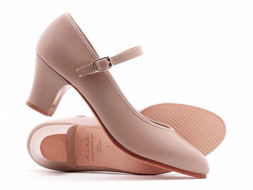 "Katz tan leather showtime dance shoe size 5 2"" heel"