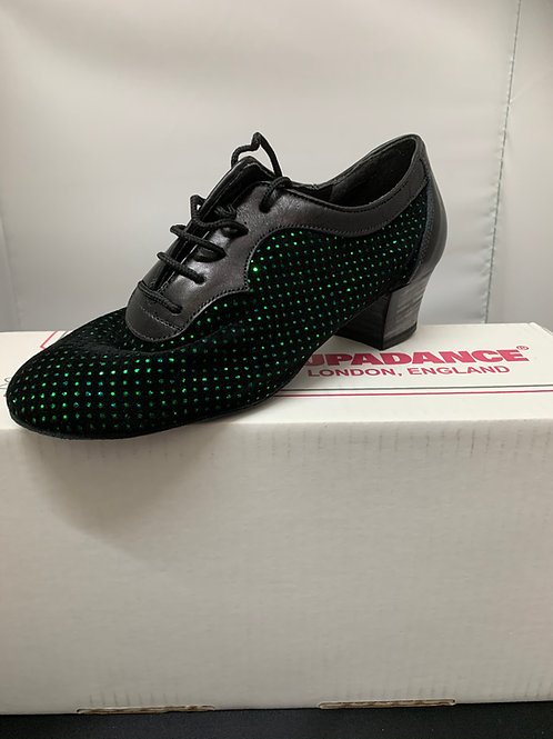 Supadance practice dance shoe 1026 leather & green holo material
