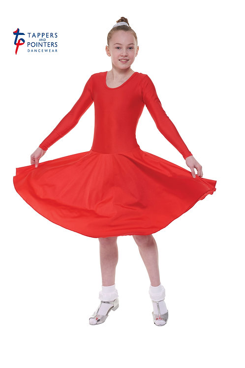 T & P B4 girls nylon lycra long sleeve ballroom dress