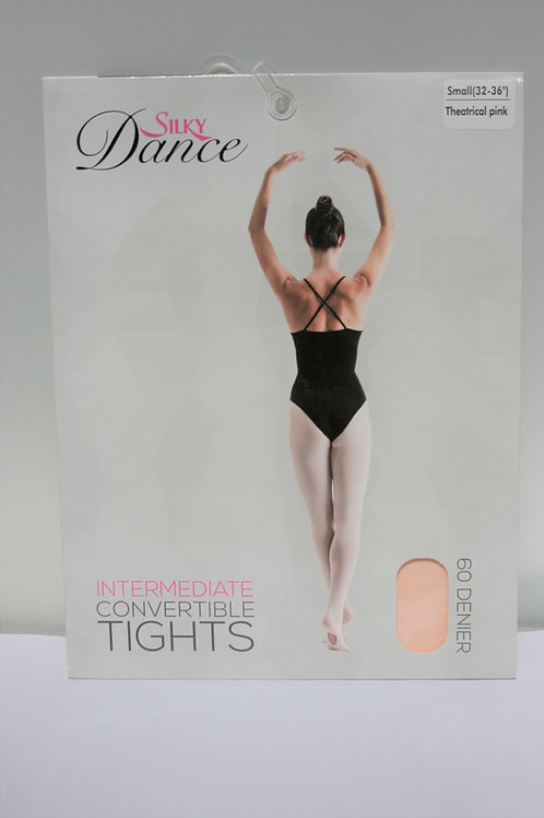 Silky convertible dance tights in pink, black, tan hand sewn flat seams
