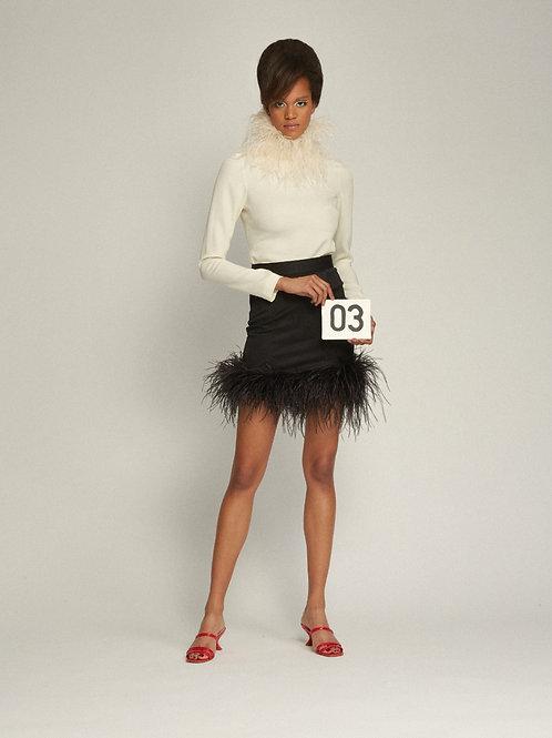 Gherardi Ivory Blouse + Virna Black Mini Skirt