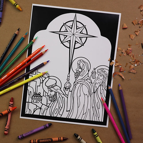 """We Saw the Star"" Coloring Page"
