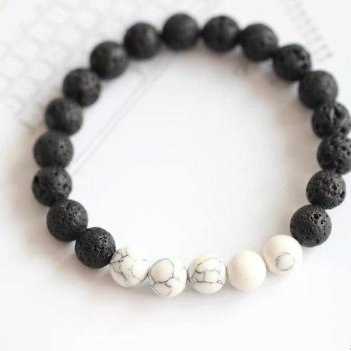 Lava Rock Bracelet (Black-White)