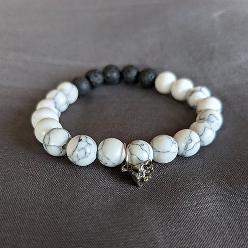 Lava Rock Diffuser Bracelet (with lotus charm)