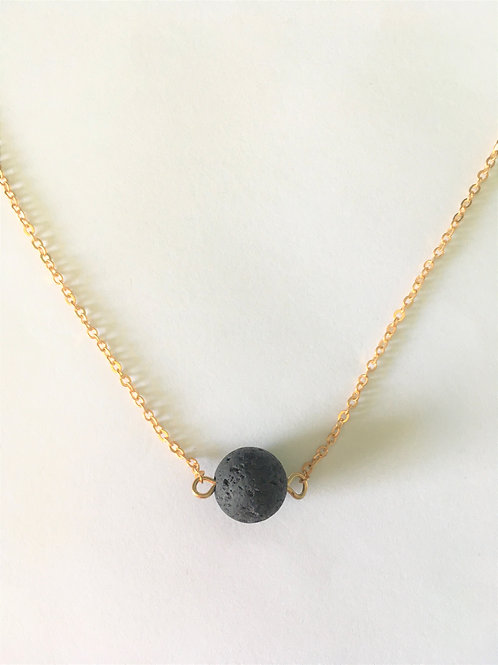 Lava Bead Necklace (gold)
