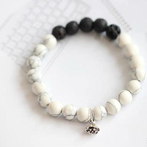 Lava Rock Bracelet (White-Black)
