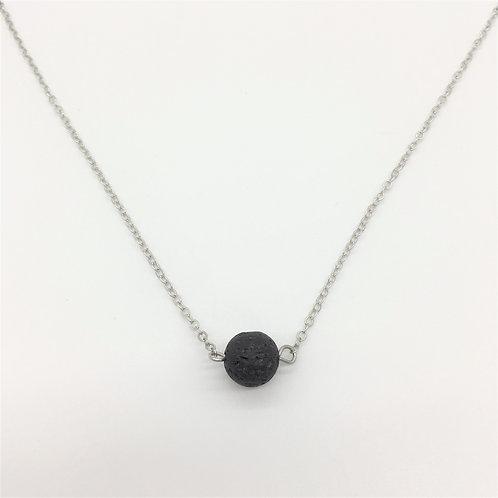 Lava Bead Necklace (silver)