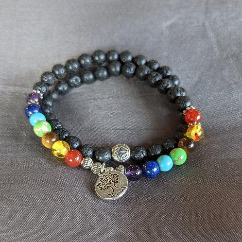 Lava Rock Diffuser Bracelet Double-strand Chakra