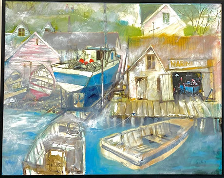 Foggy day at the boatshed - JK Reed 78cm