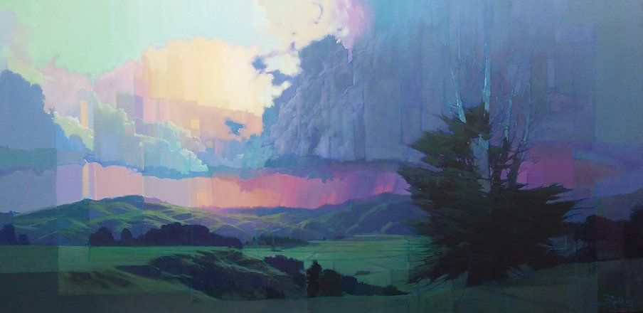 Thunderstorm at Sunset   76cm x 152cm  O