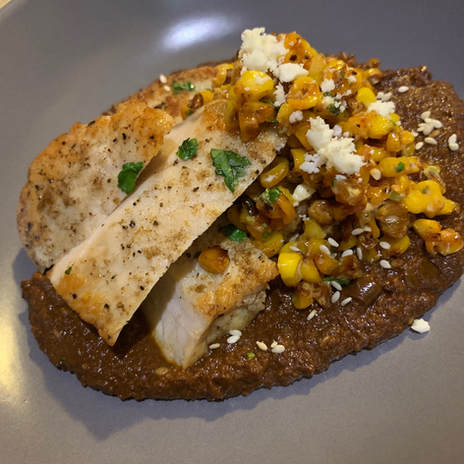 Seared Pork Mole with elote style corn