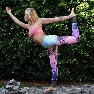 Cait in my Pink Palms full length yoga leggings