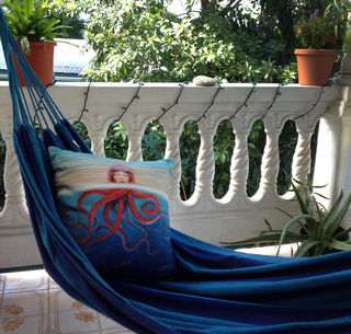 "My ""So Many Fish"" pillow looking very comfy in my Puerto Rican hammock"