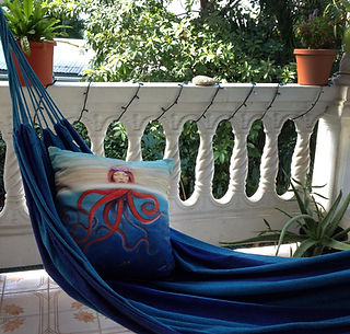 """My """"So Many Fish"""" pillow looking very comfy in my Puerto Rican hammock"""