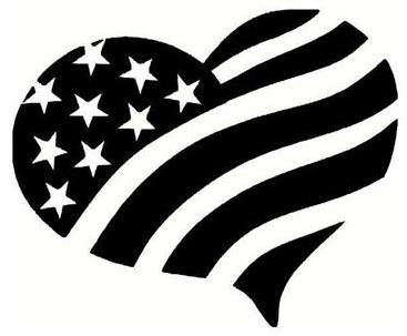 American Flag Heart 5x5 Decal