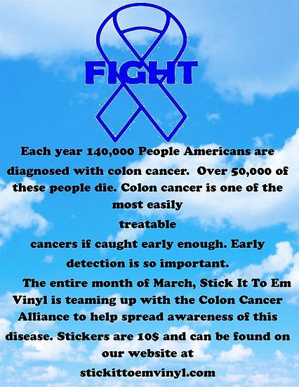 COLON CANCER AWARENESS DONATION STICKER