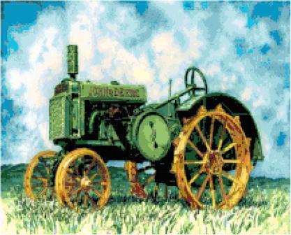 Farm Tractor Cross Stitch Pattern