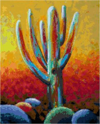 Sonoran Cactus Cross Stitch Pattern